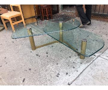 Mid Century Glass & Metal 2 Tier Coffee Table