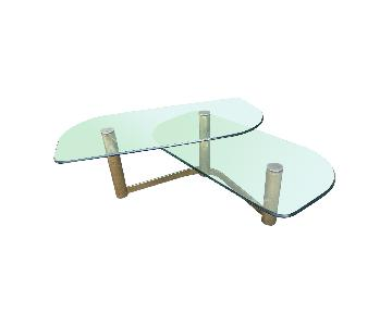 Mid Century Glass & Metal 2 Tier Coffee Table