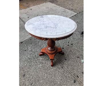 Vintage Wood & Marble Oval Side Table