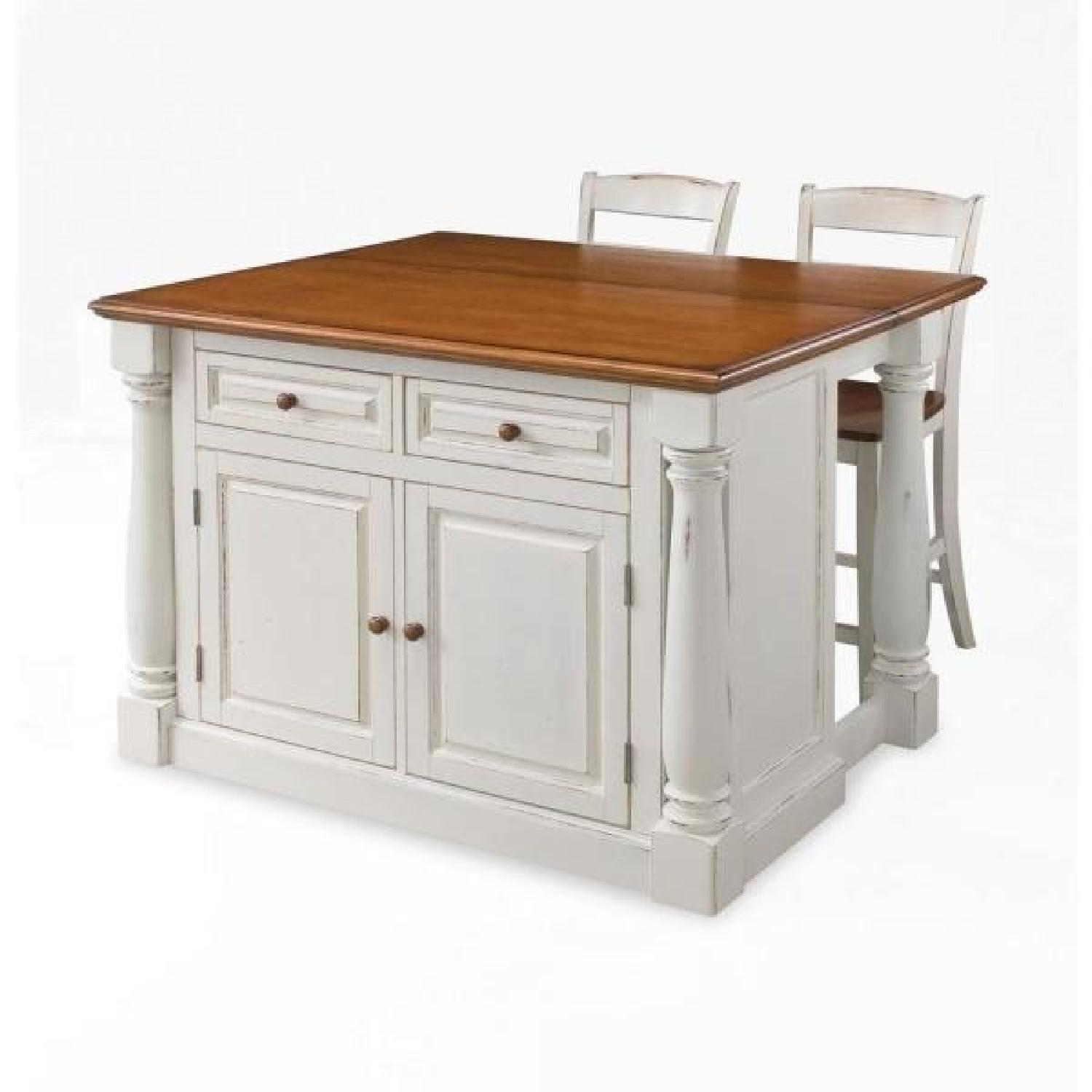 Home Styles Monarch White Kitchen Island w/ 2 Stools