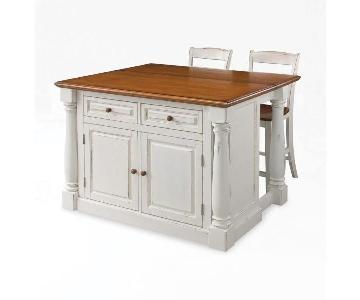Home Styles Monarch White Kitchen Island w/ 2 Stools