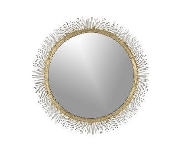 Crate & Barrel Gold Round Mirror