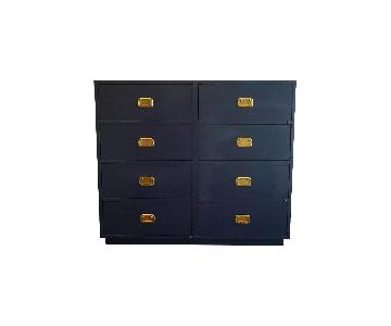 Campaign Style Navy Blue Solid Wood 8-Drawer Dresser