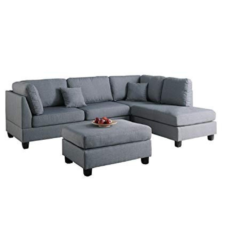 Poundex Bobkona Dervon Reversible Sectional Sofa & - AptDeco