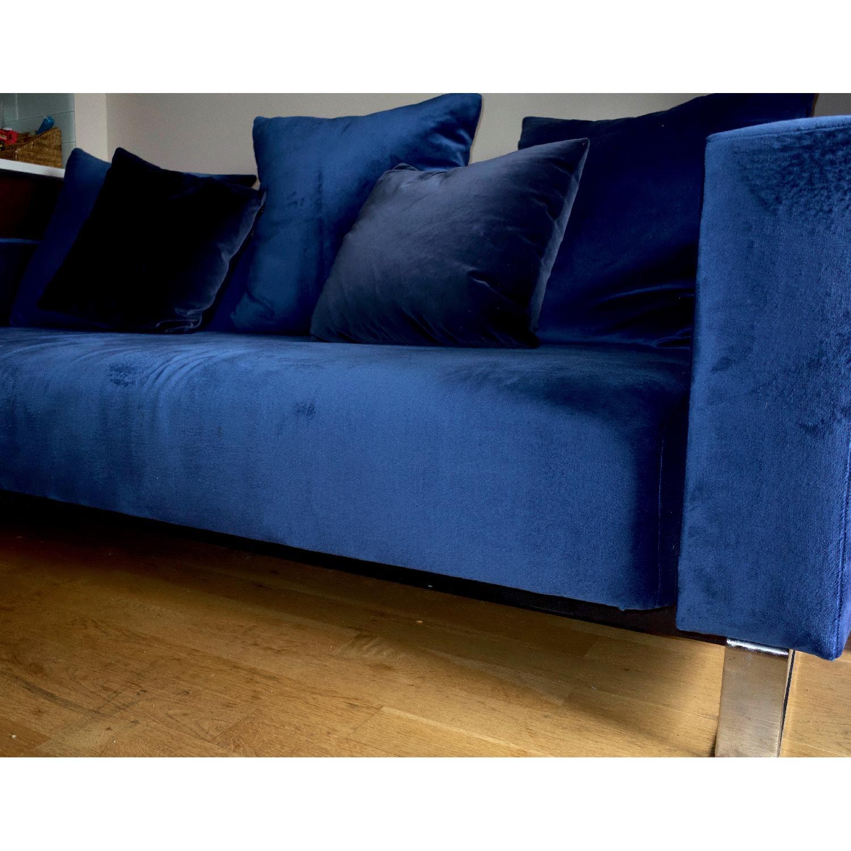 Jennifer Convertibles Modern Blue Velvet Sofa - AptDeco