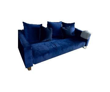 Jennifer Convertibles Modern Blue Velvet Sofa