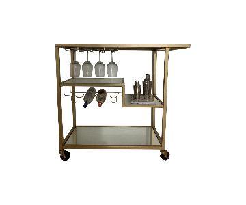 Gold Mirror Glass Bar Cart