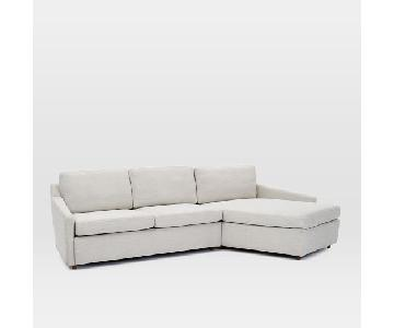 West Elm Trapez 2-Piece Sectional Sofa in Feather Grey
