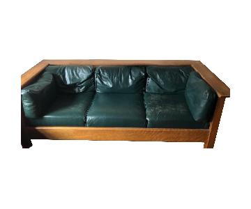 Antique Mahogany Leather Upholstered Sofa + Recliner Chair