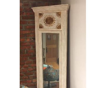 Antique Tall Wood Framed Mirror
