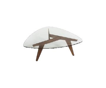 At Home Modern Glass & Wood Guitar Tab Coffee Table