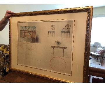 Antique Gold Framed Water Color Rendering of Furniture