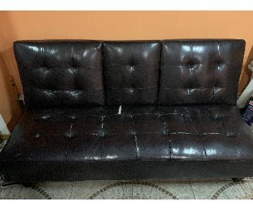 Black Faux Leather Futon