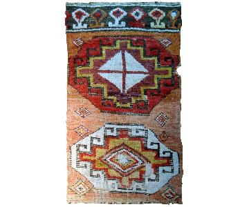 Antique Handmade Turkish Konya Collectible Fragment Rug
