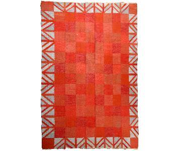 Vintage Handmade Scandinavian Flat-Weave Kilim Rug