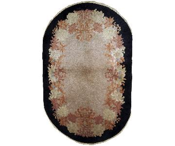Antique Handmade Oval Art Deco Chinese Rug