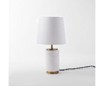 West Elm Small Marble Pillar Table Lamp