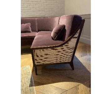 Custom Mid Century Walnut & Mohair Sectional Sofa