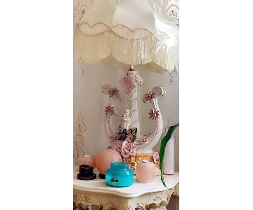 Vintage Table Lamp w/ White Gold & Pink Angel Horn