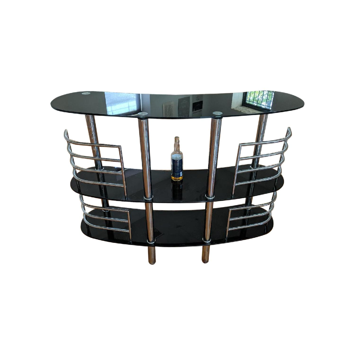 Glass & Aluminum Bar/Sideboard