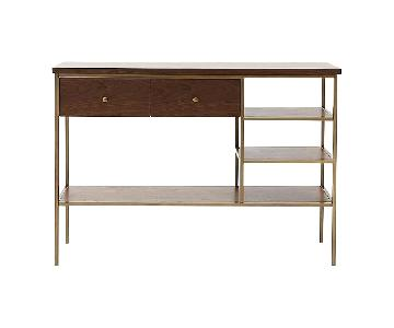 West Elm Mid Century Modern Wood & Brass Media Console