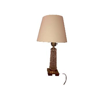 Brass Crystal Lamps w/ Linen Lamp Shades