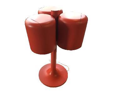 Vintage c.1960s Walter Von Nessen Red Three Head Table Lamp
