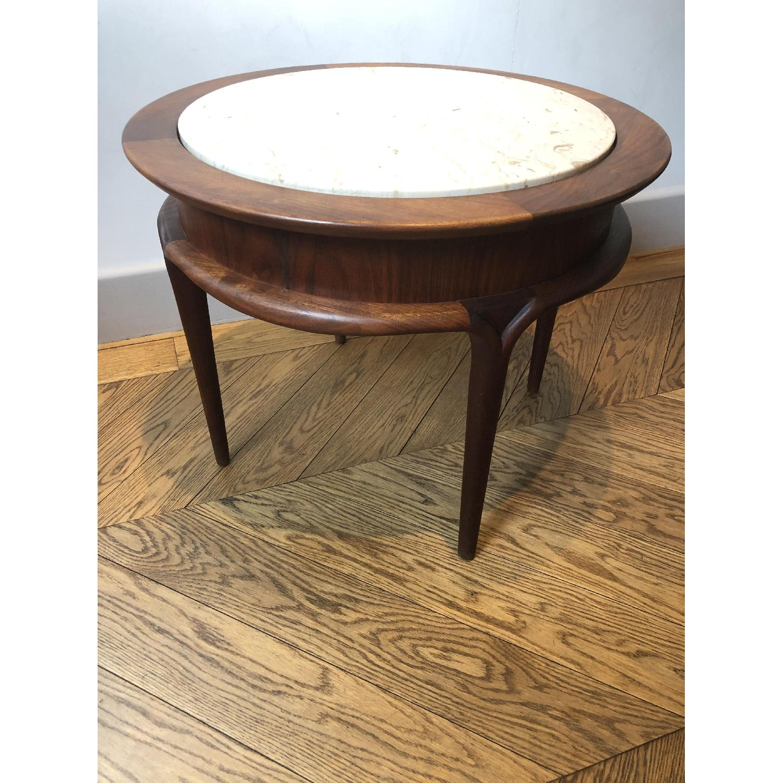Mid Century Modern Marble & Cherry Wood Coffee Table - AptDeco