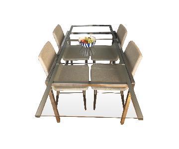 Ikea Glivarp Chrome & Glass Extendable Table w/ 4 Chairs