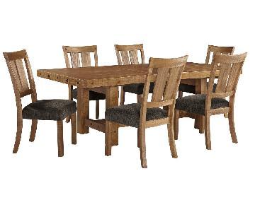 Ashley Rustic Farmhouse Wood 7-Piece Dining Set