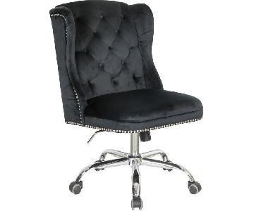 Office Chair w/ Black Velvet Upholstery & Tufted Buttons