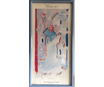 Peter Max Signed Statue of Liberty Print