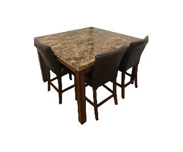 Raymour & Flanigan Marble Top Counter Height 5 Piece Set