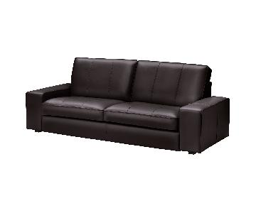 Ikea Chocolate Brown Modern Leather Sofa