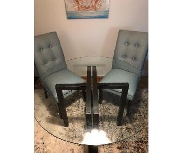 Crate & Barrel Round Glass Dining Table w/ 2 Chairs