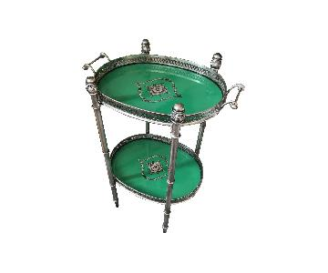 Emerald Green Double Tray Table