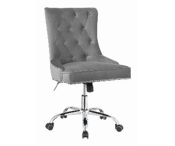 Office Chair w/ Grey Velvet Upholstery & Tufted Buttons
