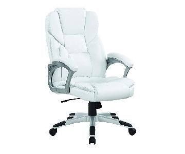 High Back Office Chair in White Leatherette