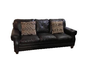 Brown Leather Three-Seater Sofa
