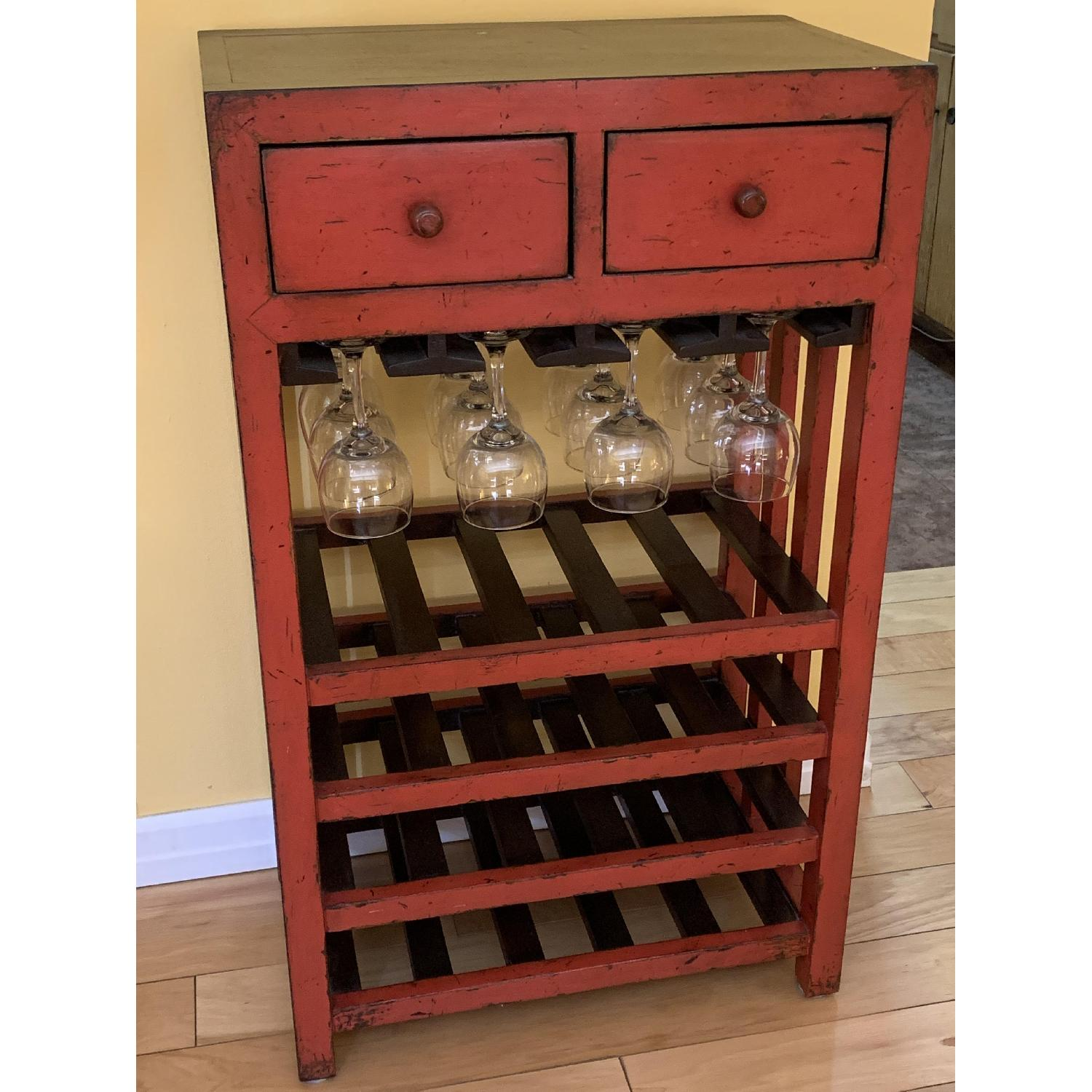 Pottery Barn Wood Bar Cabinet in Red