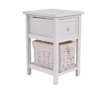 White Wood Nightstands w/ Baskets