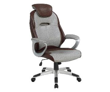 Office Chair in Brown-Grey Leatherette