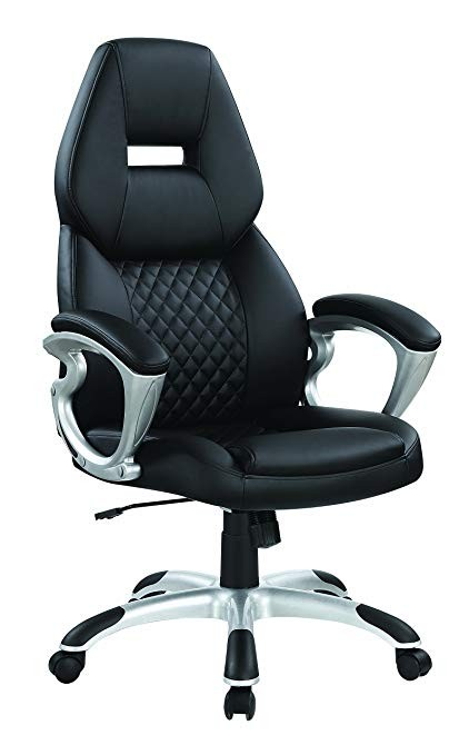 High Back Office Chair Upholstered in Black Faux Leatherette