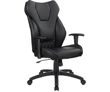Contemporary Ergonomic Office Chair in Black Leatherette