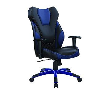 Modern Ergonomic Office Chair in Black-Blue Leatherette
