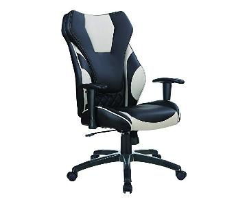 Contemporary Office Chair in Black-Grey Leatherette