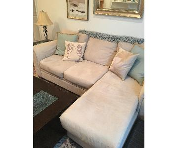 Bob's Beige Suede Chaise Sectional Sofa