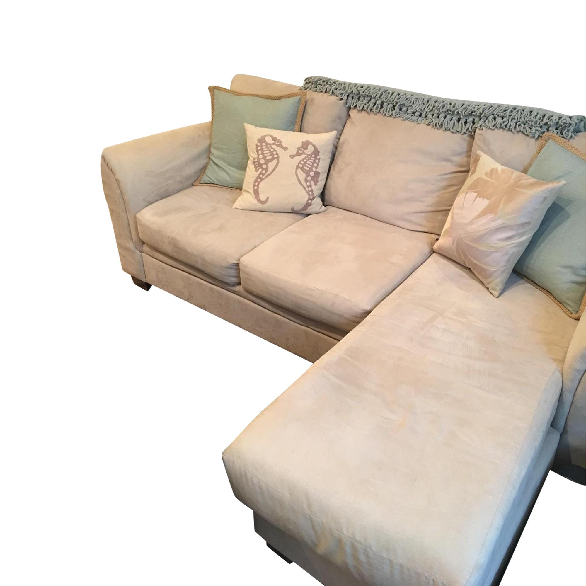 Bob\'s Beige Suede Chaise Sectional Sofa - AptDeco