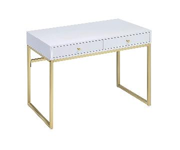 Acme Furniture Coleen White & Gold Modern Desk