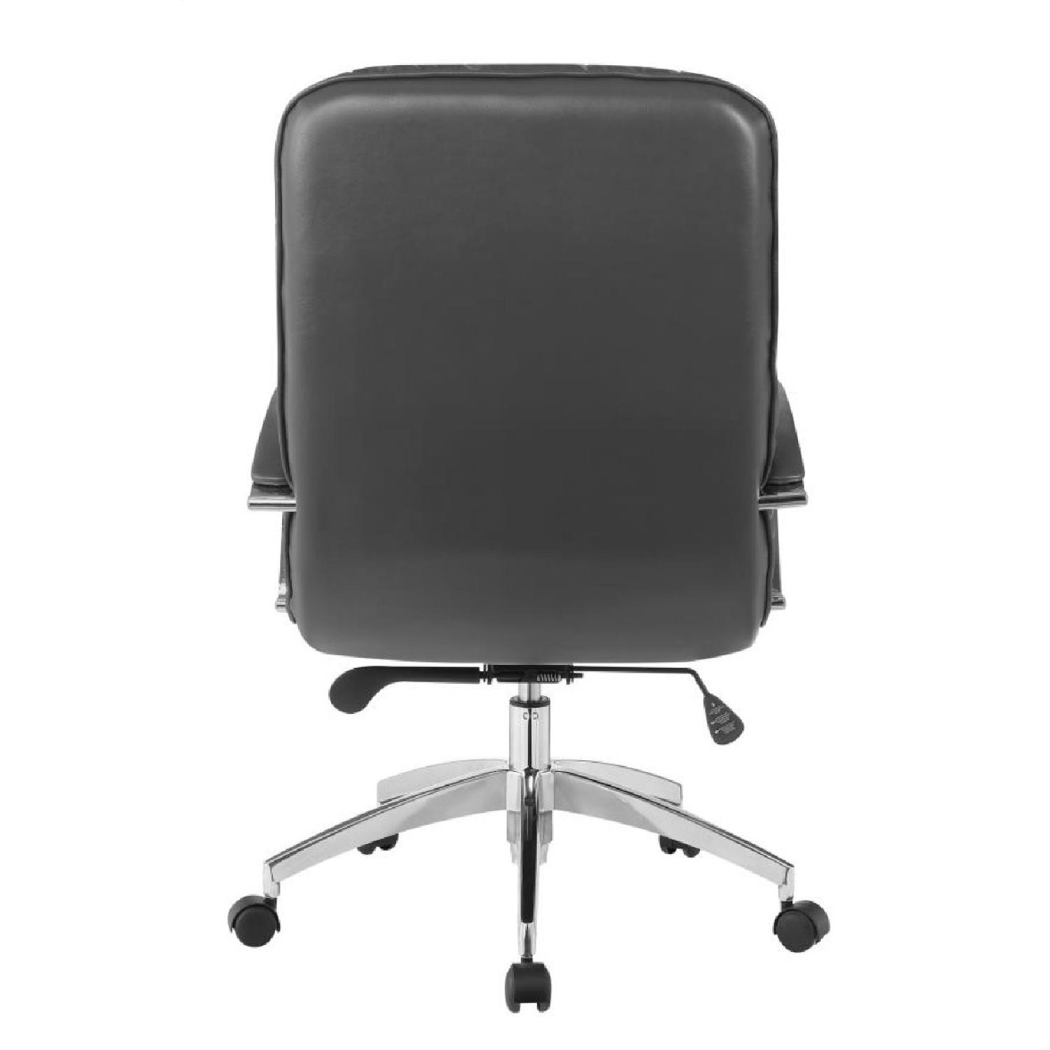 Modern Office Chair in Grey Leatherette w/ Chrome Base - image-1